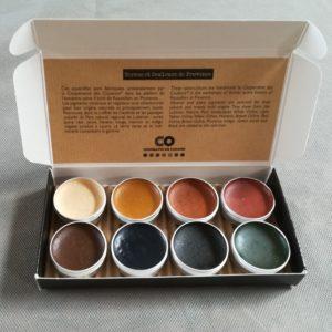 Coffret de 8 aquarelles en godet ocres et indigo de Provence